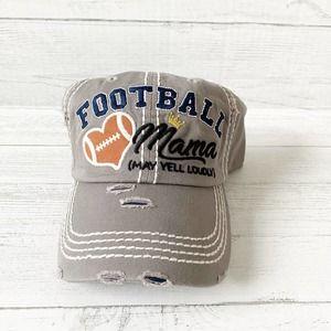 Football Mama Ball Cap Hat Grey/Blue